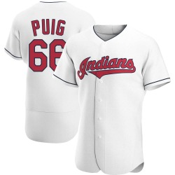 Yasiel Puig Cleveland Indians Men's Authentic Home Jersey - White