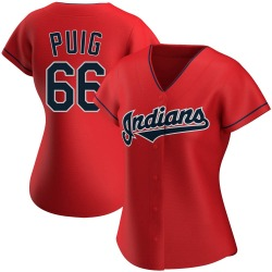 Yasiel Puig Cleveland Indians Women's Authentic Alternate Jersey - Red