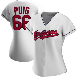 Yasiel Puig Cleveland Indians Women's Authentic Home Jersey - White