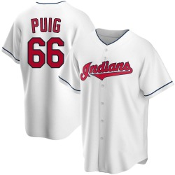 Yasiel Puig Cleveland Indians Youth Replica Home Jersey - White