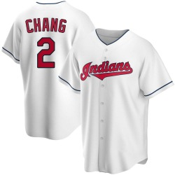 Yu-Cheng Chang Cleveland Indians Youth Replica Home Jersey - White